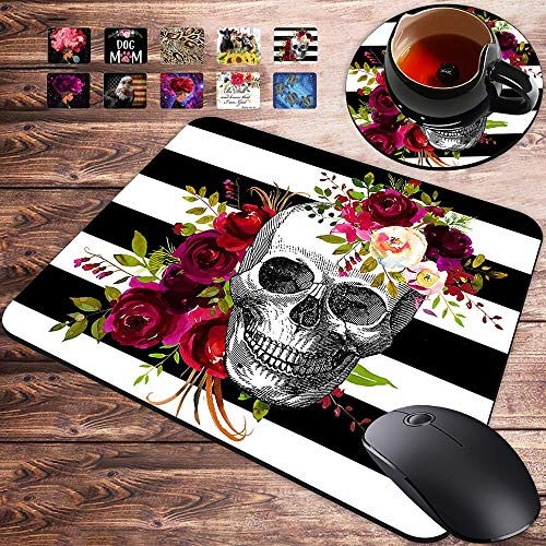 Gaming Mouse Pad and Coasters Set, Skull Flower Mousepad, Non-Slip Rubber Rectangle Mouse Pad, Customized Mouse Mat for Working and Gaming