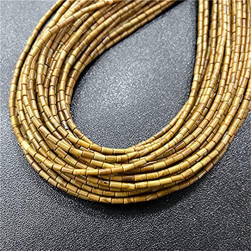 4 x 2 mm piedras naturales de jade cuentas de cilindro sueltas de piedra para hacer joyas DIY Chakra pulsera accesorios 15.5 pulgadas NO29 madera jaspe 2x4mm alrededor de 85 piezas