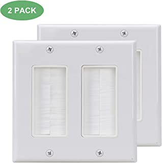 Brush Wall Plate Double Gang 2Pack,Cable Cover Brush Style Opening Passthrough in-Wall Installation for Speaker Wires,Coaxial Cables, HDTV HDMI Home Theater Systems …