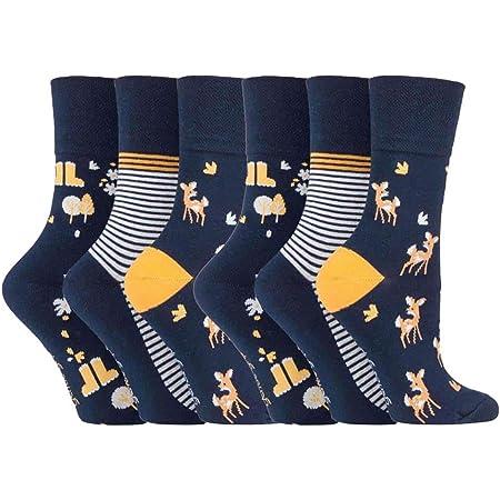 6 Pairs Ladies Gentle Grip No Elastic Design Socks by Sock Shop