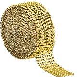 8 filas y 10 yardas Cinta de diamantes de imitación, Cinta Acrílica de Diamantes Cinta de malla brillante de diamante para novia, ramo, marco, jarrones, boda, decoración artesanal. (dorado)