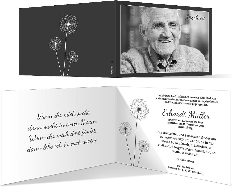Individuelle Trauerkarten (40 Stück) Einladung Trauerfeier Karten - PusteBlaume B073RJZJR2  | Deutschland Outlet