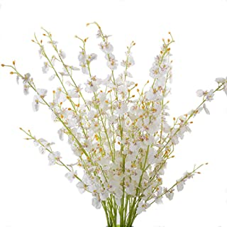 Packozy Artificial Orchids Flowers, 12 Pcs 38.58in Long Artificial Silk Dancing Orchid Flowers,for Wedding Festive Party Home Office Indoor Outdoor Decoration (White )