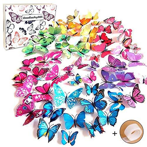 Goodlucky365 72 Pezzi Farfalle 3d Farete Misura Grande Adesiv da Parete 3d con Farfalle 12 Pezzi blu +12 Pezzi giallo +12 Pezzi verde +12 Pezzi viola decorazioni a farfalla in plastica, decorazione da parete