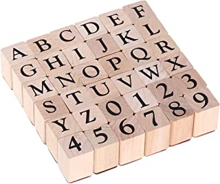 Alphabet Stamps Set Wood Stamp Rubber Number Letter Stamps 26 Capitalized Letters and 10 Numbers