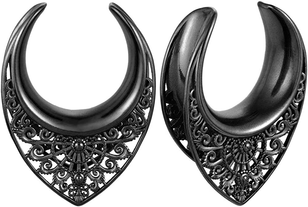 OFFicial mail order LADEMAYH Opening Saddle Tunnels Plugs Tampa Mall Earrings - Ro Gauges Gold