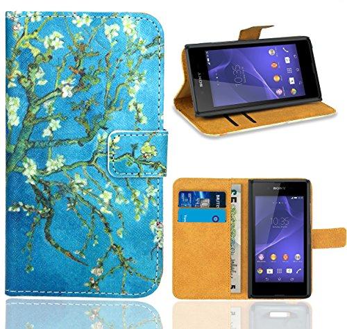 FoneExpert® Sony Xperia E3 Handy Tasche, Wallet Hülle Flip Cover Hüllen Etui Ledertasche Lederhülle Premium Schutzhülle für Sony Xperia E3