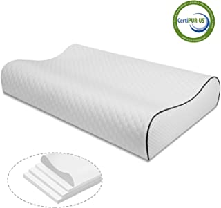 Vesgantti Memory Foam Pillow for Sleeping, Adjustable 4 Layers Neck & Cervical Pillow for Neck Pain & Shoulder Pain,Orthopedic Contour Support Pillow for Back, Stomach, Side Sleepers - Queen Size