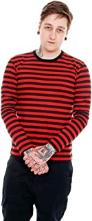 Mens Indie Retro 60's Black & Red Striped Long Sleeve T Shirt