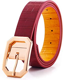 Reversible Leather Belts for Women with 1.25