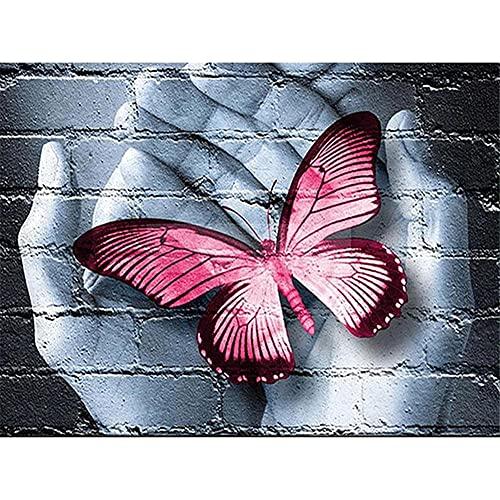 DIY 5D Pintura Diamante Taladro Completo Kit Parada de mariposa a mano Punto de Cruz bordado rhinestone Diamante painting Arte para adultos y regalos sala de estar Decoración de Pared del Hogar40x50cm