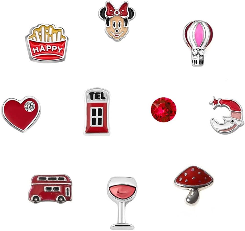Q&Locket 10pcs Disney Mickey Mouse Heart Love Floating Charms for Glass Living Memory Locket Necklace
