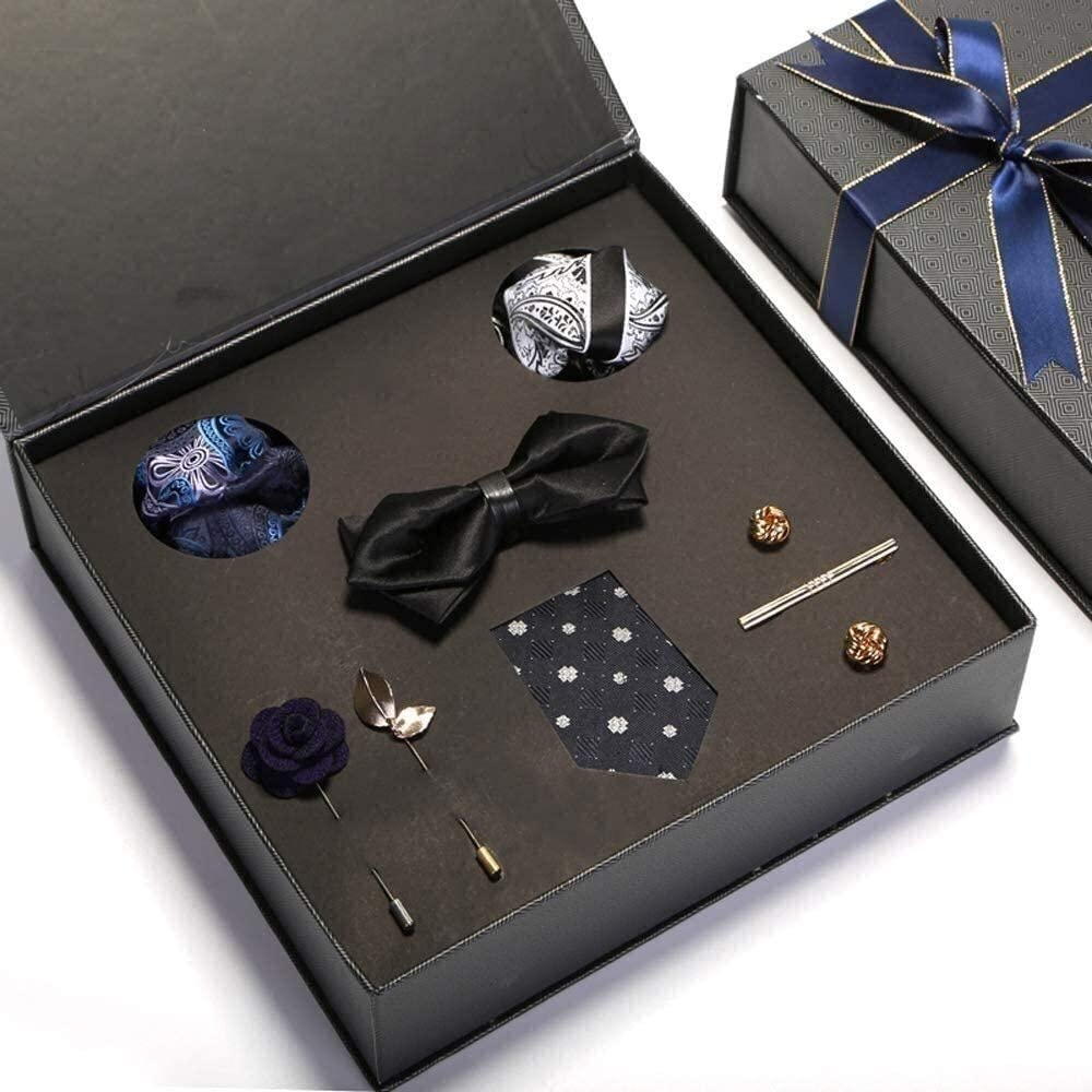 Plaid Tie Men's Silk Tie and Pocket Square Cufflinks Tie Clip Set Wedding Mens Ties 100% Silk Ties Men Cufflinks Neck Tie Set for Formal Wedding Business Party Set Gift Box Pack
