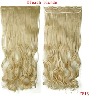 29Inch 5 Clip In One Piece Hair Heat Resistant Fake Hairpiece Long Wavy Hairstyle Synthetic Hair bleach blonde 29inches