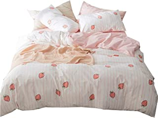 LifeTB Fruits Strawberry Duvet Cover Set Twin Pink Fresh Kids Girls Bedding Set Cotton Striped Plaid Reversible Duvet Comforter Cover Set for Teens Children Boys 3 Piece Twin Bedding Collection