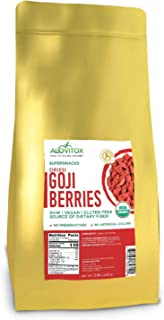 Alovitox Organic Goji Berries 5lbs | Raw, Vegan, Gluten Free Super Snack High in Plant Based Protein, Dietary Fiber, Vitamin A & Iron | Large Berries for Eating, Trail Mixes, Smoothies and Salads