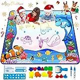 Yetech Agua Dibujo Pintura, 120*90CM Alfombra de Agua Doodle, 14 moldes de Dibujo, , 3 bolígrafos mágicos,3 Sellos, 1 rolleer, 1 Esponja de Agua y 1 Manual de Instrucciones Regalo Ideal para niños