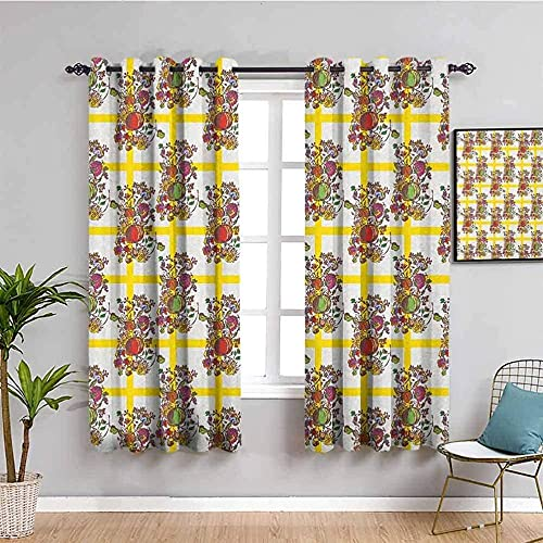 LucaSng Blackout Curtain Thermal Insulated - Yellow flowers plants art - 72x63 inch for Bedroom Kitchen Living Room Boy Girl Window - 3D Digital Printing Eyelet Ring Curtain