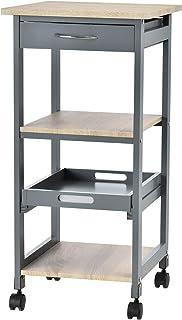Chariot de service desserte de cuisine à roulettes 2 étagères + plateau amovible + tiroir bois de pin MDF gris chêne clair