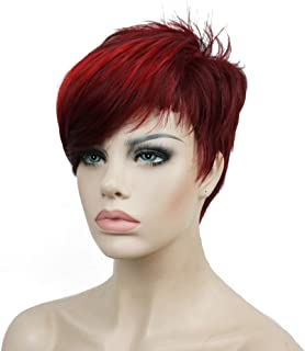 Lydell Short Asymmetry Side Bang Straight Wig Full Synthetic Wigs 6 inches