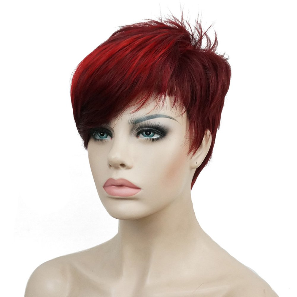 Lydell Special sale item Short Asymmetry Side Bang Wig Discount mail order Straight Full Synthetic