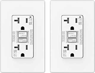 ELEGRP 20 Amp GFCI Outlet, 5-20R GFI Dual Receptacle, TR Tamper Resistant and WR Weather Resistant, Self-Test Ground Fault Circuit Interrupters, Wall Plate Included, UL Listed (2 Pack, White)