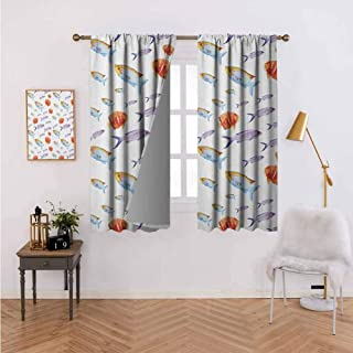 Rod Pocket Window Curtain Underwater Life Themed Art with Tropical Goldfish and Mackerel in Pastel Watercolors Multicolor Interior Decoration 63