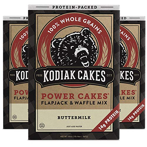 Kodiak Cakes Protein Pancake Power Cakes Flapjack and Waffle Baking Mix Buttermilk 20 Ounce Pack of 3