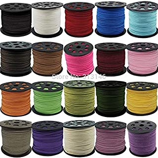 JJESC 3mm 90 Meters Macrame Braided Faux Suede Cord Leather Lace DIY Handmade Beading Bracelet Jewelry Making Flat Thread ...