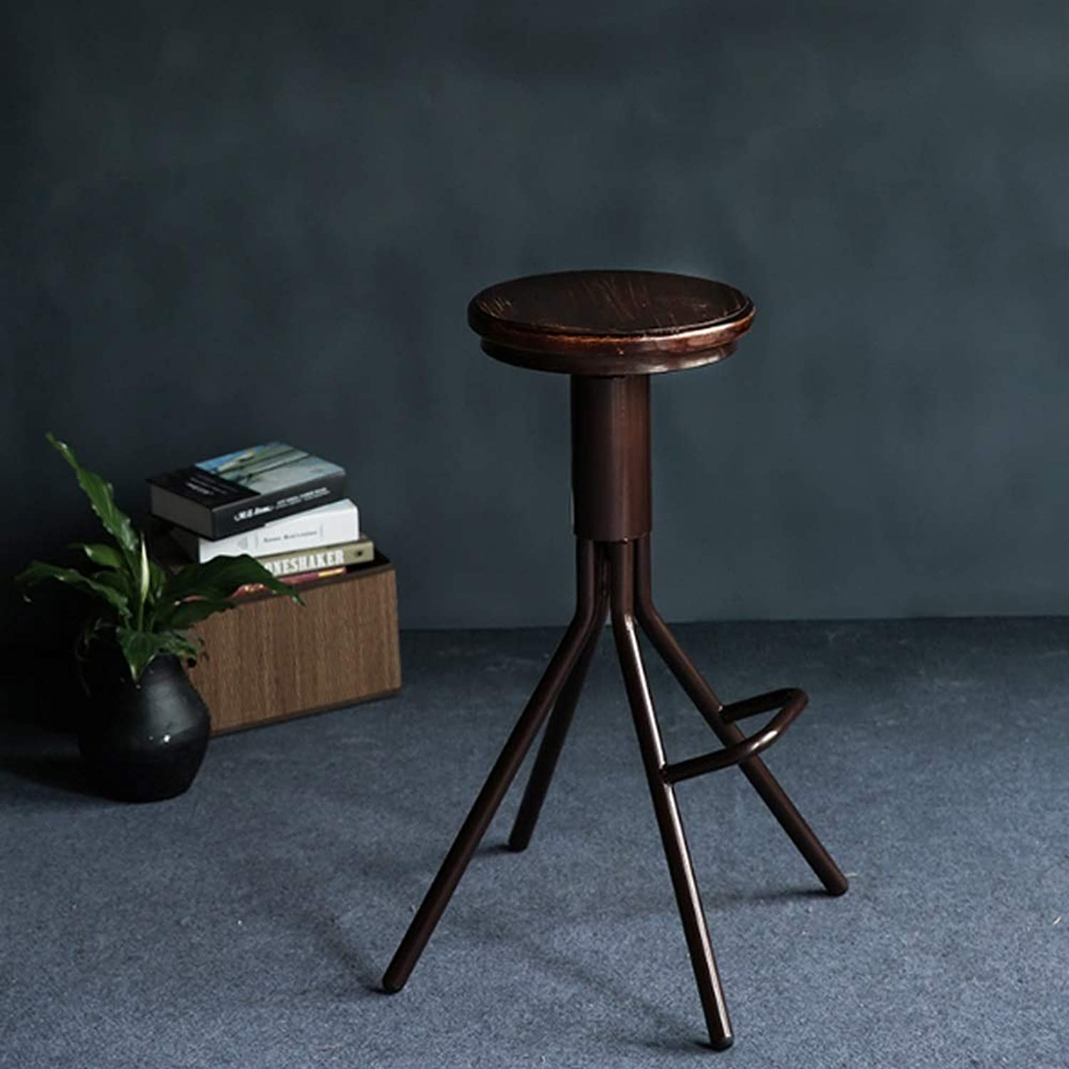 Retro Industry bar Chair Metal bar Stool high Stool Solid Wood Cushion Height Adjustable 27-35 inches in Height Suitable for Coffee Shop Living Room Club SUGEWANJBD (color   Brown)