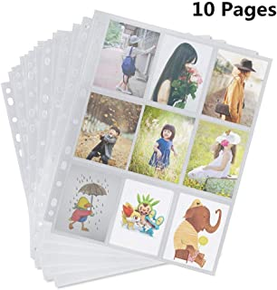 Trading Card Sleeves, 9 Pocket Trading Card Storage Album Pages Fit 2/3/4 Ring Binder Ideal for Baseball and Other Sports Cards (10 Sheets(90 Pockets))