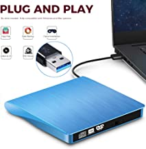 External DVD CD Burner Drive for Laptop USB 3.0 Portable External CD-RW DVD-RW Player Drive Writer Rewriter for iMac/MacBook Air/Pro PC Desktop Windows7/8/10 (Blue)