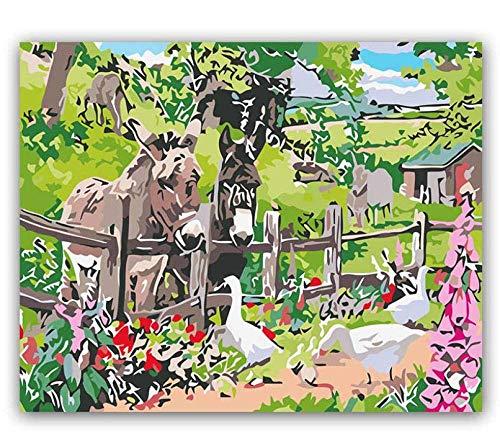 WCIAW Anfänger Digital Paint Oil Painting Kit Landschaftsgrafik Außerhalb des Zauns Abstrakte Handgemalte Malvorlage Leinwand DIY Als Geschenk 16X20Inch