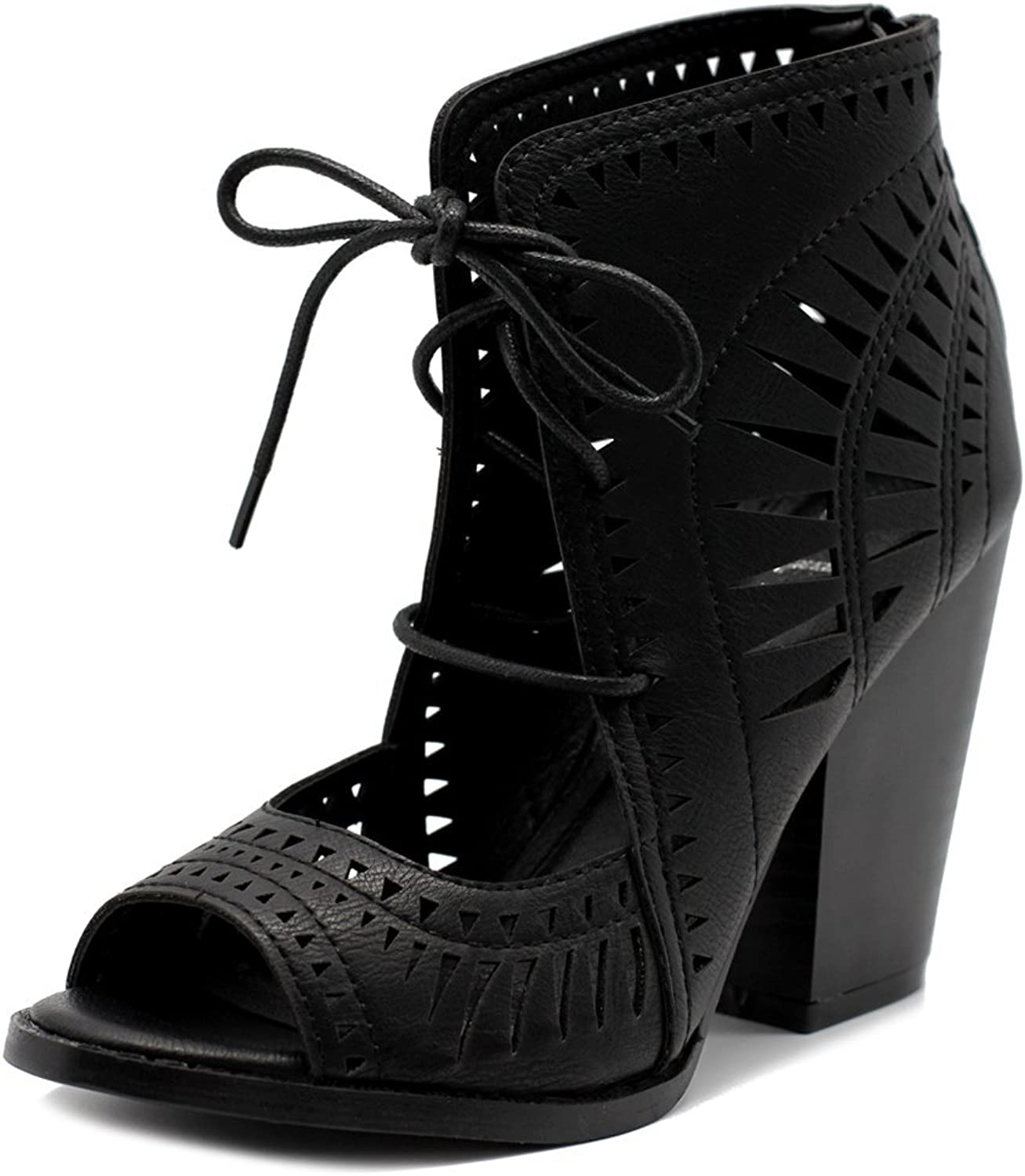 Ollio Women shoes Fashion Lace up Cutout Ankle High Heel Bootie Sandal