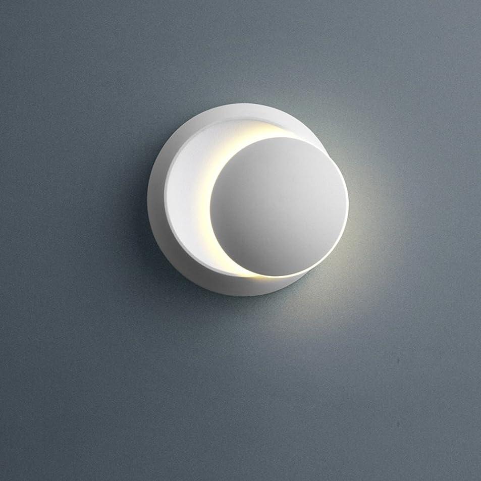 軽量近代化ビスケットDCCRBR ウォールランプシンプルなベッドサイドテーブルLEDウォールランプ360°異なる月鉄つや消しウォールランプ階段の廊下の背景に適した調節可能な備品14 CM白黒 装飾的な壁の光 (Color : White-1)