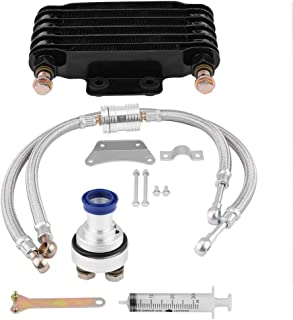 KIMISS Motorcycle Engine Oil Cooler Oil Cooling Radiator Kit for Honda CB CG 100CC-250CC(85ML-Black)
