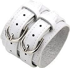 Fusamk Hip Hop Alloy Double Row Leather Belt Wristband Bracelet Bangle,7.0-8.0inches