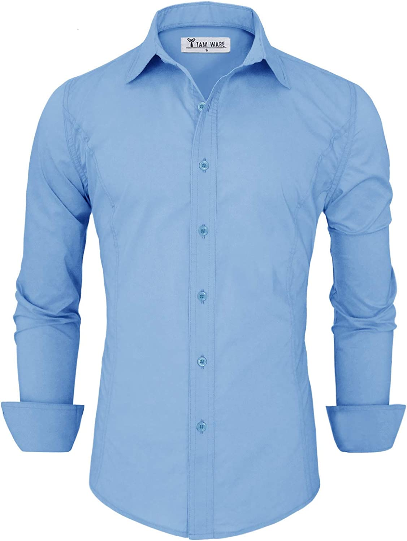 TAM WARE Men's Basic Casual Slim Fit Dress Shirts