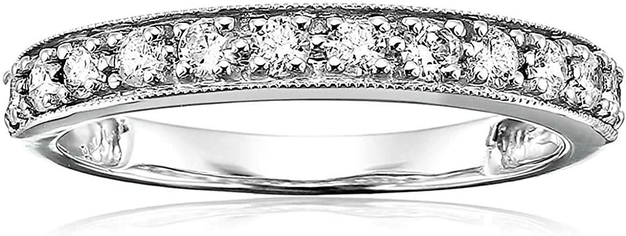 Vir Jewels 1/2 cttw Milgrain Diamond Wedding Band in 14K White Gold