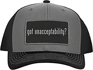 got Unacceptability? - Leather Black Metallic Patch Engraved Trucker Hat