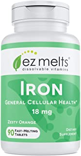Sponsored Ad - EZ Melts Iron as Elemental Iron, 18 mg, Sublingual Vitamins, Vegan, Zero Sugar, Natural Orange Flavor, 90 F...