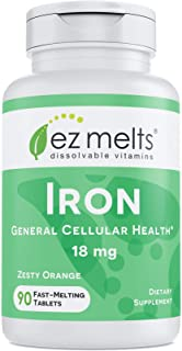 EZ Melts Iron as Elemental Iron, 18 mg, Sublingual Vitamins, Vegan, Zero Sugar, Natural Orange Flavor, 90 F...