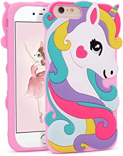 """FunTeens Vivid Unicorn Case for 8 Plus /7 Plus/6 Plus/6S Plus+ 5.5"""",3D Cartoon Animal Cute Soft Silicone Rubber Pink Cover,Animated Fashion Cool Skin Unique Shell for Kids Child Teens Girls(8Plus)"""