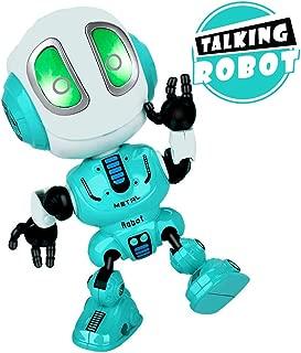 INLAIER Mini Talking Robot Toys Robots Toy for Kids, Boys, Girls Metal Talking Robot Kit Bright LED Toys Interactive Voice Changer Robot Travel Toys (Blue)