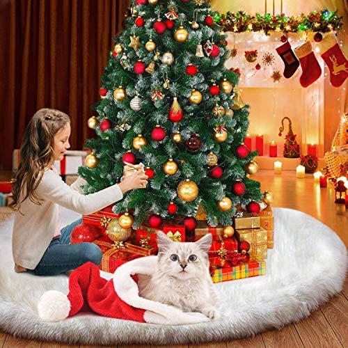 YQHbe Weihnachtsbaum Decke, Weihnachtsbaum PlüSch Teppich Rund 90cm Baumdecke Weihnachtsbaum Decke Weiß Fell Groß Christbaumdecke Bodendekoration, 2020 Weihnachtsbaumrock FüR Weihnachtsdeko Baum