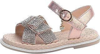 rismart Niña Muchachas Sandalias Chico Tacón bajo Brillante con Diamantes de imitación Verano Zapato