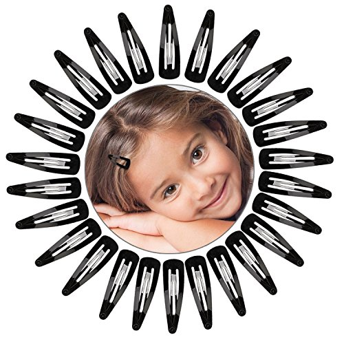 Hotop 50 Pack Snap Hair Clips Hair Barrettes for Women, 50 mm (Black)