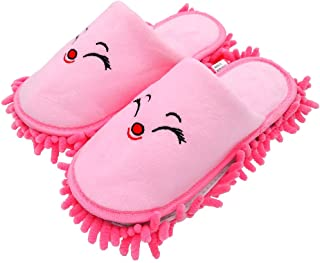 """Selric [Smiling Fox] Super Chenille Microfiber Washable Mop Slippers Shoes Pink, Floor Dust Dirt Hair Cleaner, Multi-sizes & Multi-Colors Available 9 7/9""""[Size:5.5-8.5.]"""