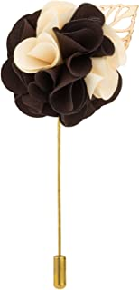Knighthood Men's Handmade Flower Bunch With Gold Leaf Lapel Pin/Brooch Multi-Colour