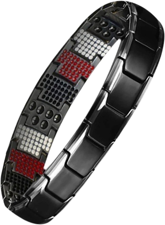Magnetic Therapy Fit Plus Bracelet, Detachable Titanium Steel Magnetic Bracelet, Adjustable Length Bracelet,Weight Loss Anti-Fatigue Bracelet (black and silver)